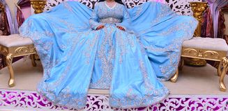 Free Moroccan Caftan . Dressed By The Moroccan Bride On Her Wedding Day. Royalty Free Stock Photo - 158773035