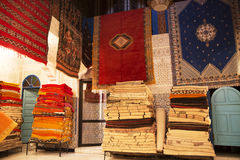 Moroccan carpet shop Stock Images