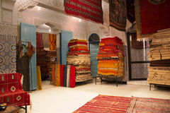 Moroccan carpet shop Royalty Free Stock Photo