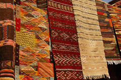 Moroccan Carpets in a street shop souk Royalty Free Stock Photos