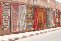 Moroccan Carpets On A Wall Stock Photo