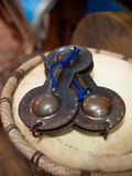 Moroccan castanets lie on the drum. Set of two Royalty Free Stock Images