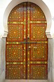Moroccan Cedar Wood Painted Door. In Fes, Morocco Royalty Free Stock Image