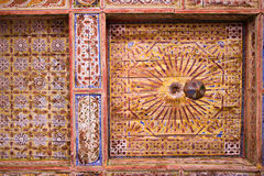 Moroccan ceiling. Moroccan wooden ceiling richly decorated, ouarzazate royalty free stock photos