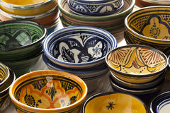 Moroccan ceramic bowls on the market Royalty Free Stock Image