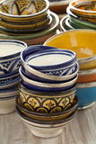 Moroccan ceramic cups on the market Stock Image