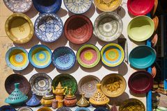 Moroccan Ceramic Handpainted Dishes. Moroccan ceramics for sale in a Moroccan souk Stock Image