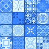 Moroccan ceramic tiles in bright blue tones. Cute patchwork pattern Royalty Free Stock Image