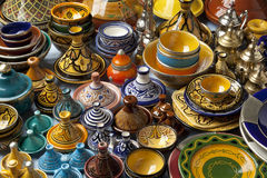 Moroccan ceramics on the market Royalty Free Stock Photo