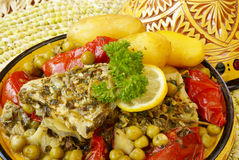 Moroccan chermoula fish tajine royalty free stock photos