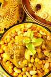 Moroccan chicken with chickpeas and lemons Stock Photos