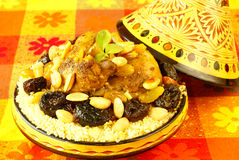 Moroccan chicken with plums and almonds Royalty Free Stock Images