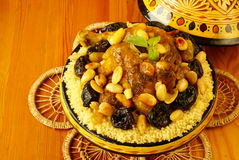 Moroccan chicken with plums and almonds Royalty Free Stock Photos