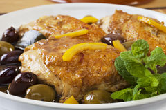 Moroccan Chicken Tagine. Moroccan chicken with olives and preserved lemon, a favourite Moroccan dish Stock Images