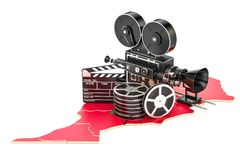 Moroccan cinematography, film industry concept. 3D rendering. Isolated on white background Royalty Free Stock Photos