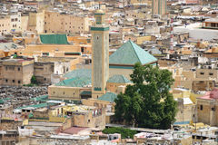 Moroccan City Mosque Rooftop - Fez Stock Photo