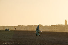 Moroccan city during sunset Royalty Free Stock Photography