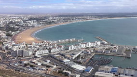 Moroccan coastal city of Agadir view from hill top stock video