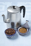 Moroccan coffee pot and spices Stock Photography
