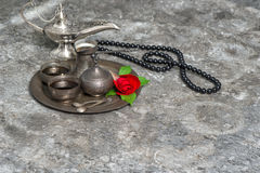 Moroccan coffee, rose flower, arabian lantern, rosary. Islamic h royalty free stock photo