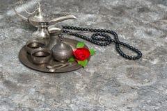 Moroccan coffee, rose flower, arabian lantern, rosary. Islamic h Royalty Free Stock Photo