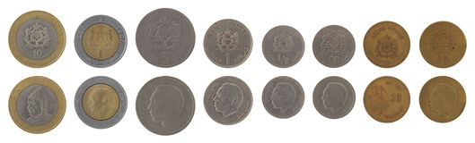 Moroccan Coins Isolated on White Royalty Free Stock Photo