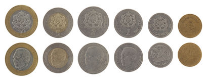 Moroccan Coins Isolated on White Royalty Free Stock Image