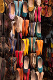 Moroccan colourful leather shoes Stock Images