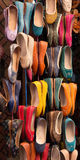Moroccan colourful leather shoes on display Royalty Free Stock Photos