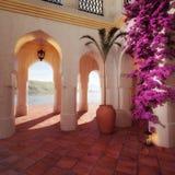 Moroccan Courtyard background Stock Photos