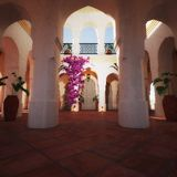 Moroccan Courtyard background Stock Image