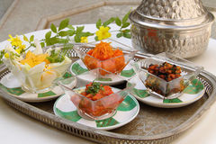 Moroccan cuisine. Selection of starters. Royalty Free Stock Photos