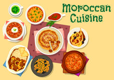 Moroccan cuisine traditional dishes icon design. Moroccan cuisine traditional dishes icon of chicken tomato soup, fried chicken with lemon pickle, eggplant Stock Photos