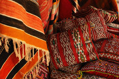 Moroccan cushions in a street shop Royalty Free Stock Photos