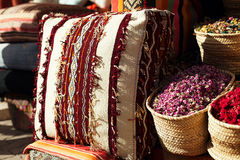 Moroccan cushions in a street shop in medina souk Stock Photo