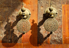 Moroccan decorated bronze door knobs, Morocco Stock Photos