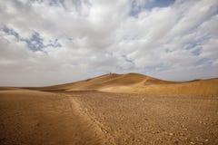 Moroccan desert landscape with blue sky. Dunes background. Panorama of Moroccan desert landscape with blue sky. Dunes background royalty free stock photo