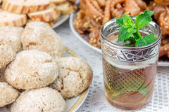 Moroccan desserts with mint tea Stock Image