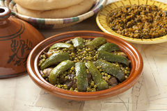 Moroccan dish with lamb, peas and courgette Stock Image