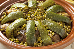 Moroccan dish with lamb, peas and courgette Royalty Free Stock Photos
