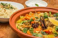 Moroccan dish with lamb, vegetables and bulgur Royalty Free Stock Photography