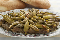 Moroccan dish with meat and okra Stock Photography
