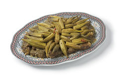 Moroccan dish with meat and okra Stock Images