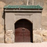 Moroccan doorway. With green tiled awning - Fez, Morocco Stock Photography