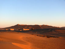 Moroccan Erg Chebbi Sahara with Hotels Stock Photo