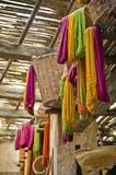 Moroccan fabric and yarn store Royalty Free Stock Photography