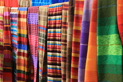 Moroccan fabrics. Hung in Essaouira Stock Photo
