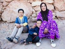 Moroccan Family. A berber nomad family  in Merzouga, Morocco Royalty Free Stock Photos