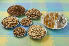 Moroccan festive homemade cookies, nuts and tea Stock Image