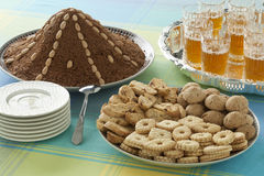 Moroccan festive homemade cookies, selou and tea Stock Photo
